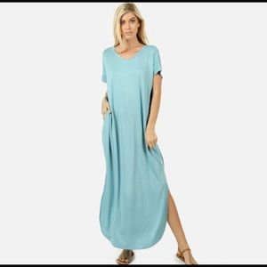 Light Blue Short Sleeve Pocket Maxi Dress
